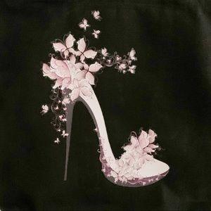 Pink high heel pump butterflies black tote bag
